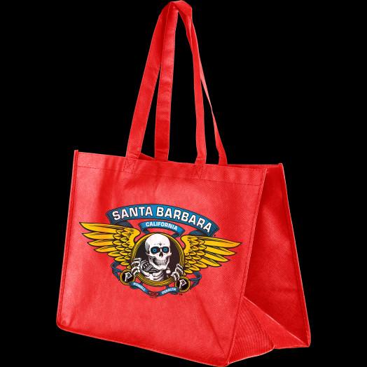 Powell Peralta Shopping Bag Santa Barbara Winged Ripper Woven Red 12x16