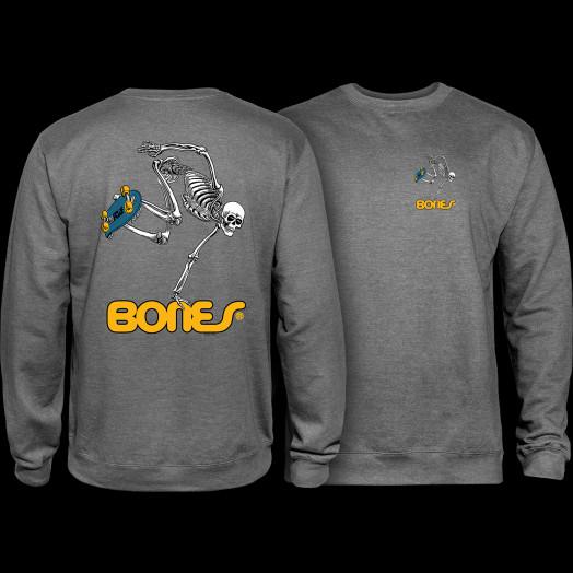 Powell Peralta Skateboard Skeleton Midweight Crewneck Sweatshirt - Gunmetal Heather
