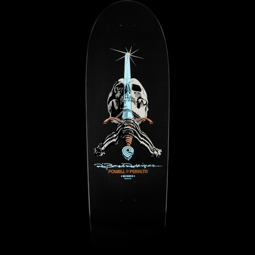 Powell Peralta Rodriguez Skull and Sword BLEM Skateboard Deck Gunmetal - 10 x 30