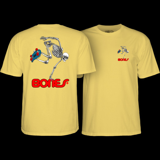 Powell Peralta Skateboarding Skeleton T-shirt Yellow