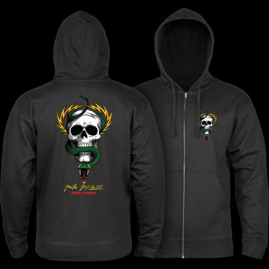 Powell Peralta McGill Skull and Snake Hooded Zip Sweatshirt - Black