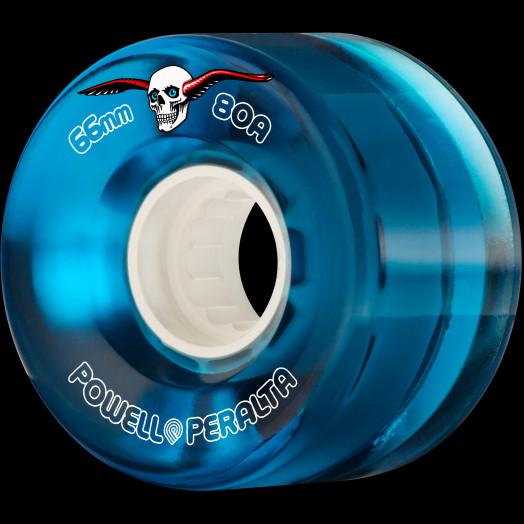 Powell Peralta Clear Cruiser Skateboard Wheels Blue 66mm 80A 4pk