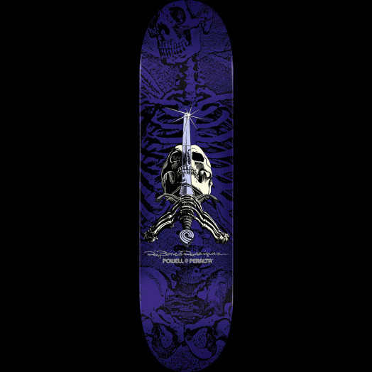 Powell Peralta Rodriguez Skull and Sword Skateboard Deck Purple - Shape 244 - 8.5 x 32.08