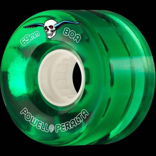 Powell Peralta Clear Cruiser Skateboard Wheels Green 69mm 80A 4pk