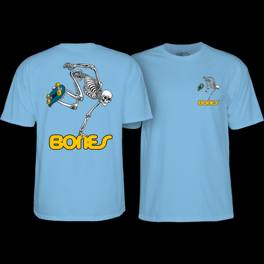 Powell Peralta Skateboarding Skeleton YOUTH T-shirt - Carolina blue