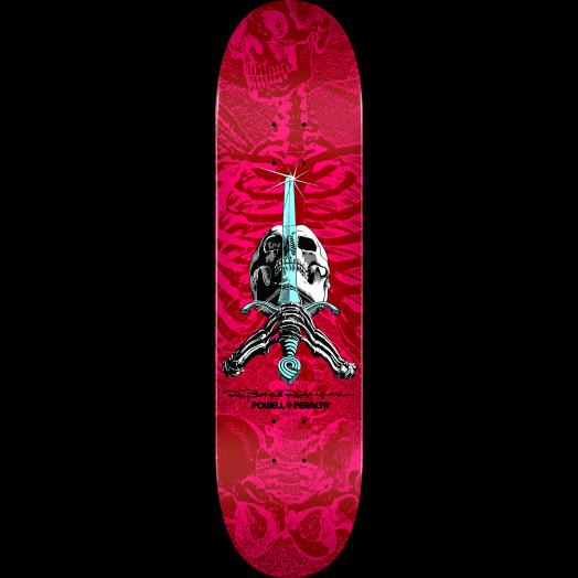 Powell Peralta Skull & Sword Blem Skateboard Deck Pink/Red 249 K20 - 8.5 x 32