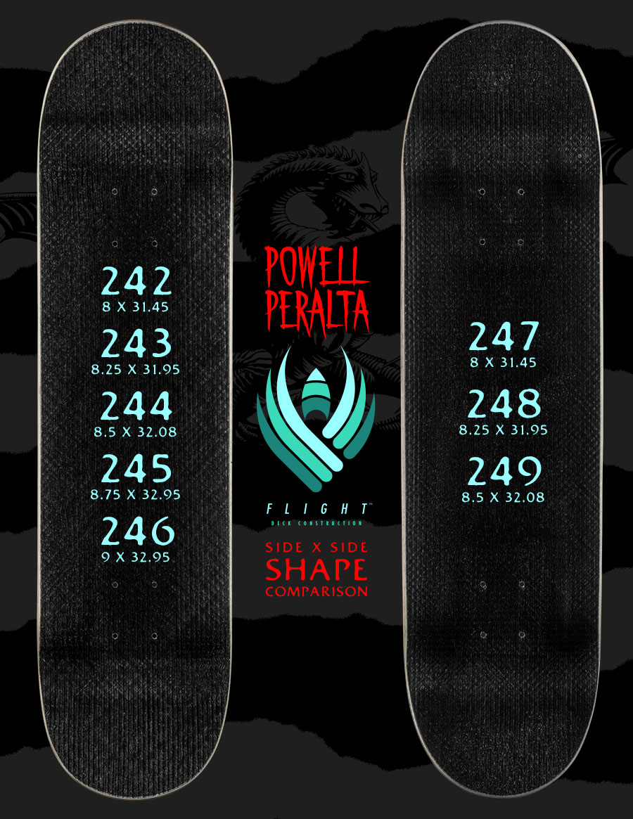 Powell Peralta Skateboards Flight Decks Shapes & Sizes