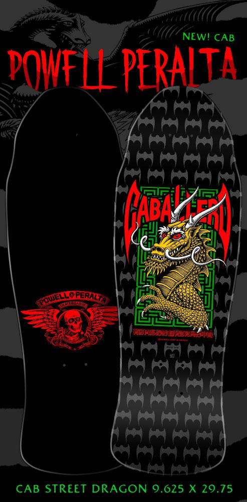 Powell Peralta Pro Steve Caballero Street Skateboard Deck Black/Silver - 9.625 x 29.75